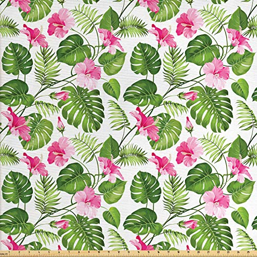 Lunarable Leaf Fabric by The Yard, Hawaiian Hibiscus Crystal Pink Flower with Palm Tree Leaves Art Print, Decorative Fabric for Upholstery and Home Accents, 2 Yards, Pale Pink and Dark Green