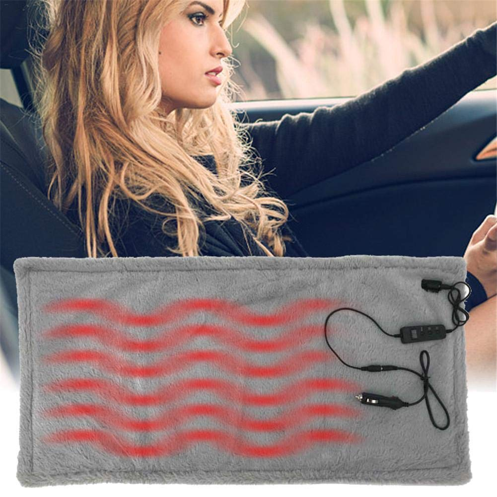 biliten 12V Car Truck Travel Corduroy Soft Warm Electric Heated Blanket 6-Speed Timing Thermostat Washable Folding