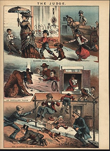1882 Lithograph - Dog Hunting by New York city Police Strays 1882 antique color lithograph print