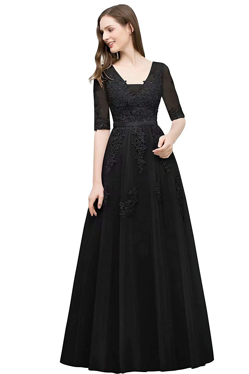 Black Unions Women V Neck Tulle Prom Party Gown A Line Appliques Lace Formal Backless Evening Dress