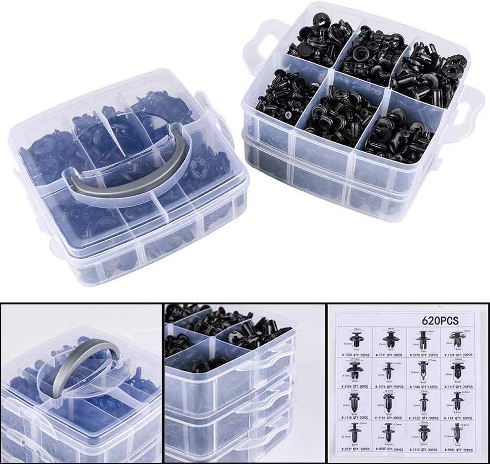 Eleven Guns 620 Pcs Car Retainer Clips Plastic Fasteners Kit Fender Rivets Kits 16 Most Popular Sizes Auto Push Pin for GM Ford Toyota Honda Acura Chrysler