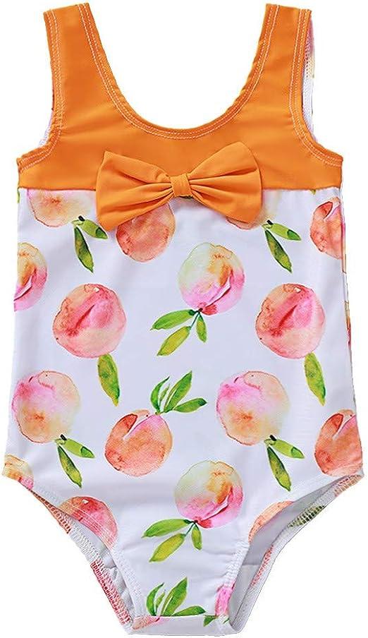 MomentDAY Baby Swimsuit 1-5 Years Toddler Bikini Swimwear Kid Girl Off-Shoulder One Piece Romper Flower Ruffle Bathing Suit