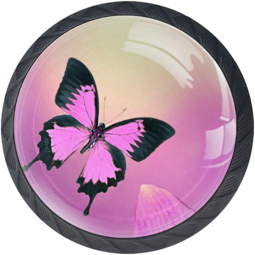 Papillon Rose H01 4 pi/èces Poign/ée de tiroir pour armoire garde-robe en verre boutons de d/écoration d/écoration chambre denfant chambre meilleur cadeau pour enfants 3,5 x 2,8 cm