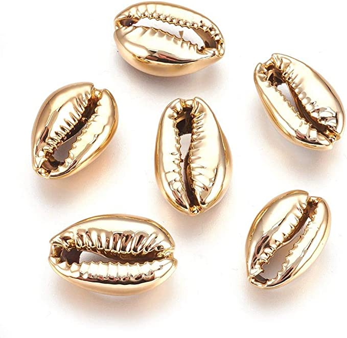 3-10pcslot,Natural Brown Cowrie Shell Connectors Charms Electroplated Gold DIY Pendants,Beach Sea Snail Crafts Necklace Charms Supplies