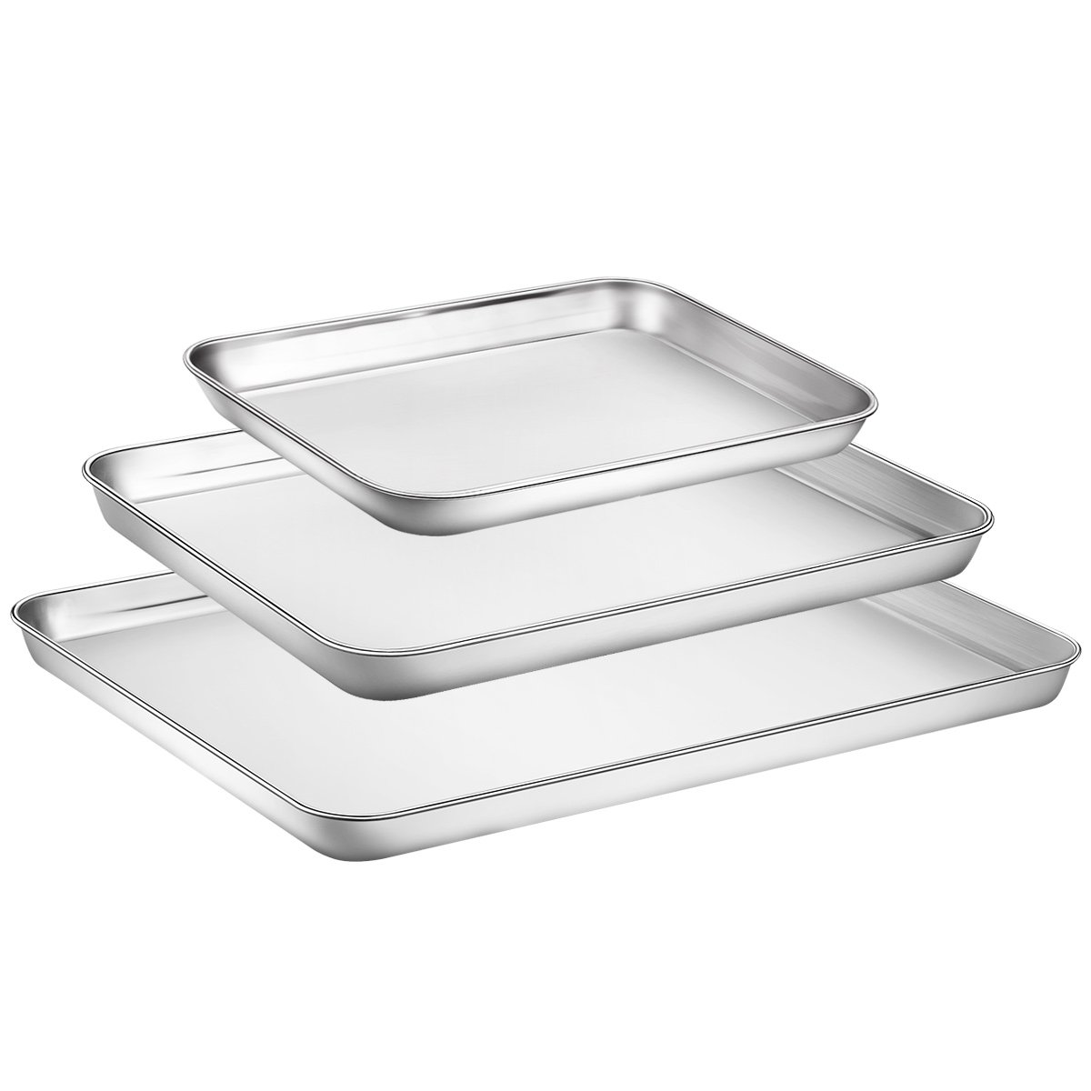Baking Sheet Set 3, Zacfton Cookie Sheet Stainless Steel Toaster Oven Tray Pan Rectangle, Non Toxic & Healthy,Superior Mirror Finish & Easy Clean, Dishwasher Safe (16inch 12inch 9inch)