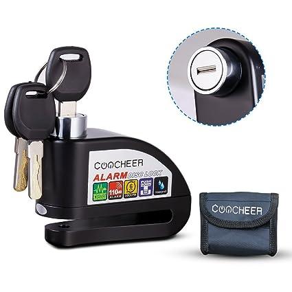 Candado Disco de Moto, Bloqueo Disco Con Alarma Hasta 110 dB Impermeable Antirrobo de Seguridad