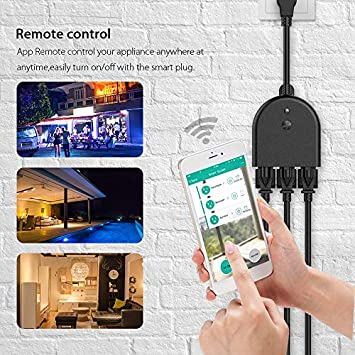 WiFi Outdoor Smart Plug,Outdoor Smart Outlets with 3 Individual Sockets compatible with Alexa Google Home, Wireless Remote Control Timer function via Smart Phone, Waterproof for Indoor and Outdoor Use