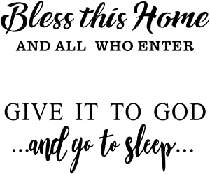 Bless This Home and Give it to God Wall Decal Vinyl Stickers, Removable Religious Art DIY Inspirational Quotes Sticker Mural for Bedroom Living Room Office Home Window Door Decoration