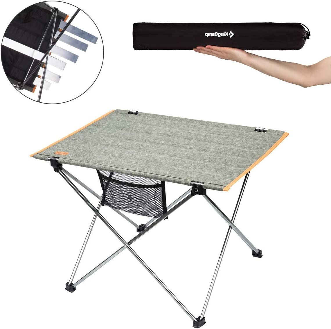 Backyards KingCamp Ultralight Camping Aluminum Folding Table 3 Size Compact Roll Up with Carry Bag for Camping Picnic BBQ