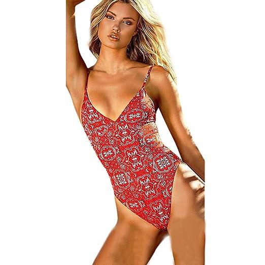 ea6da552b21c9 Women Bohemian Retro Floral Print One Piece Bikini Monokini Set ...
