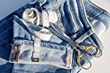Home Comforts Canvas Print Tape Measure Fabric Scissors Pins Change Jeans Stretched Canvas 32 x 24
