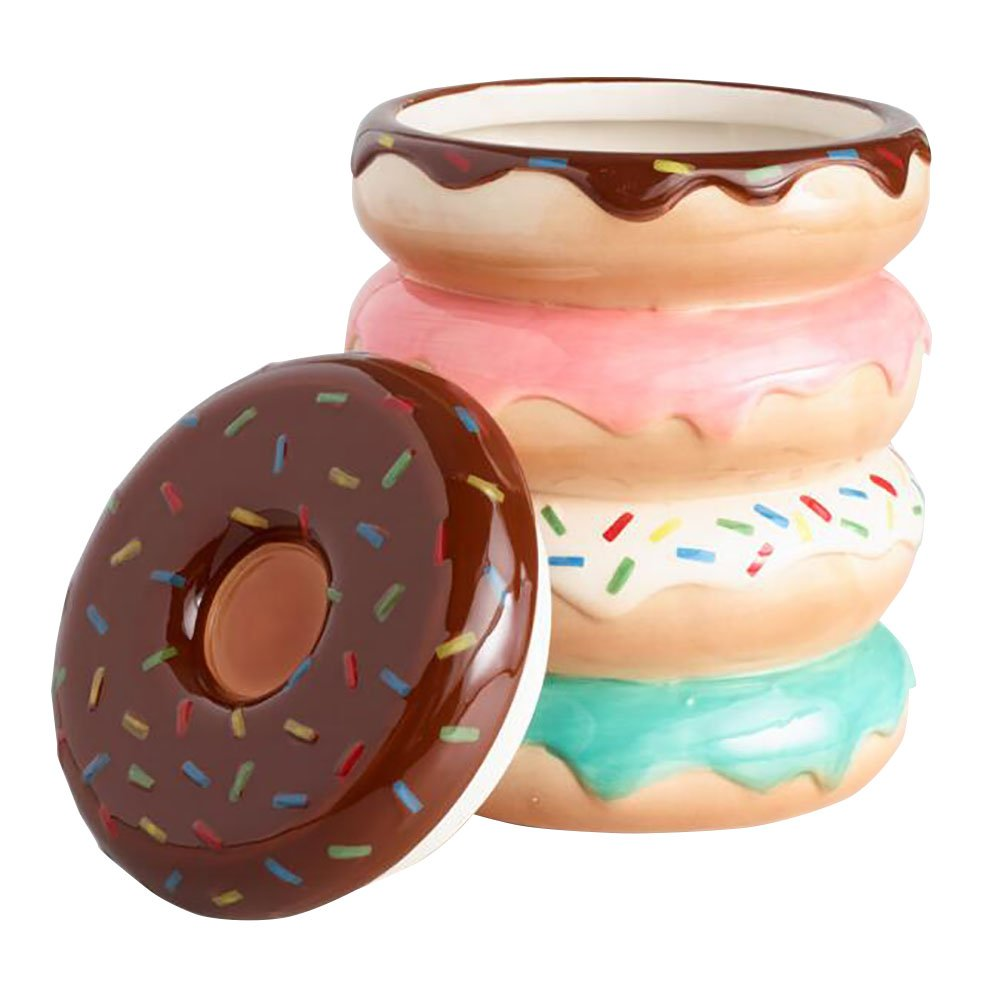 World Market Donut Cookie Jar - Colorful, Bright Donuts with Sprinkles | Keep your Sweets, Chocolate, Confection Safe