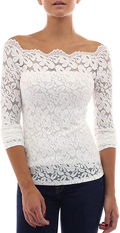 Daylin Mujer Sexy T-Shirt Blusa de Encaje Casual Manga Larga Sin Tirantes Tops Camisetas: Amazon.es: Ropa y accesorios