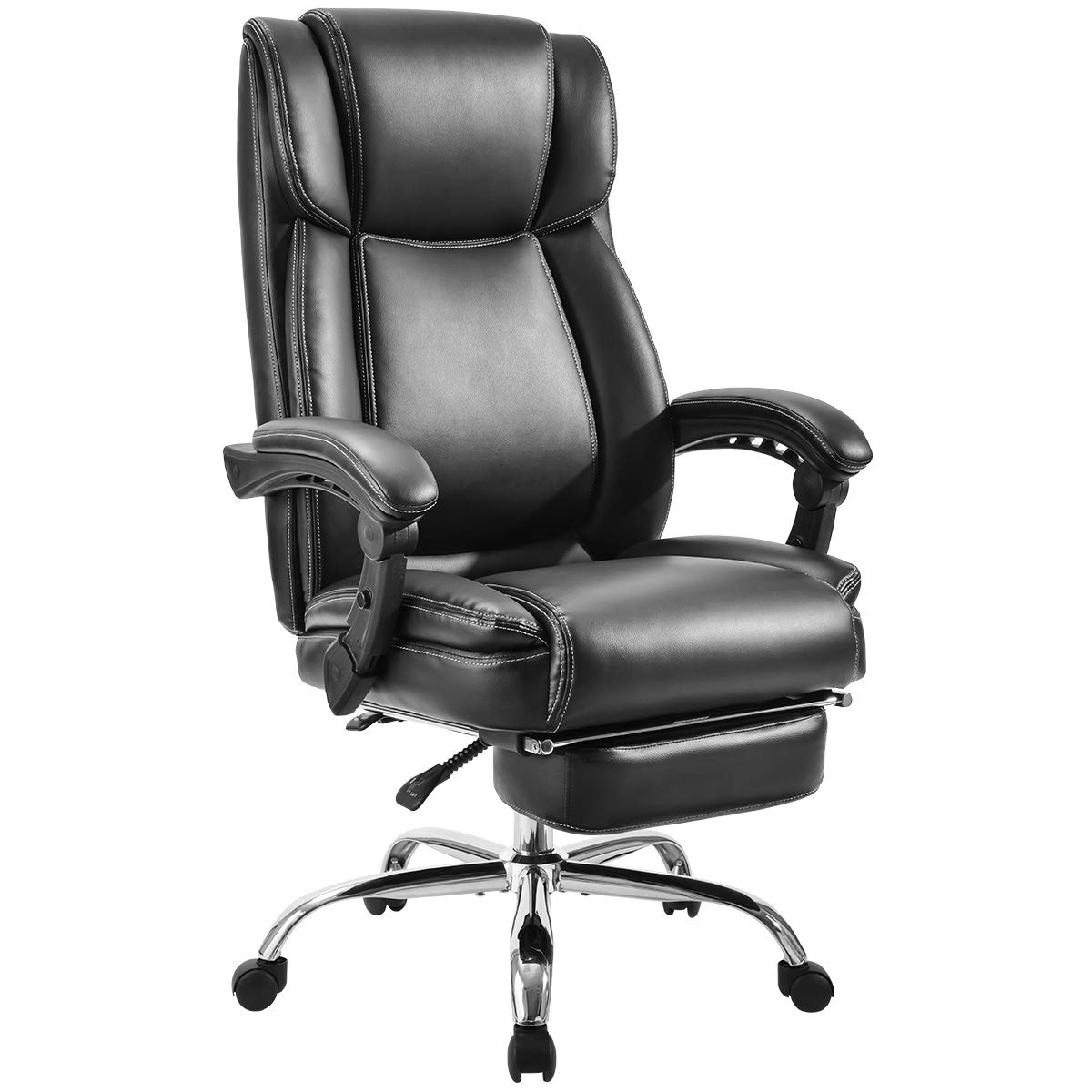 Merax Executive Reclining Office Chair High Back Napping Chair Big & Tall Thick Padded Ergonomic Office Recliner Computer Desk Chair with Footrest for Home and Office (Black) by Merax