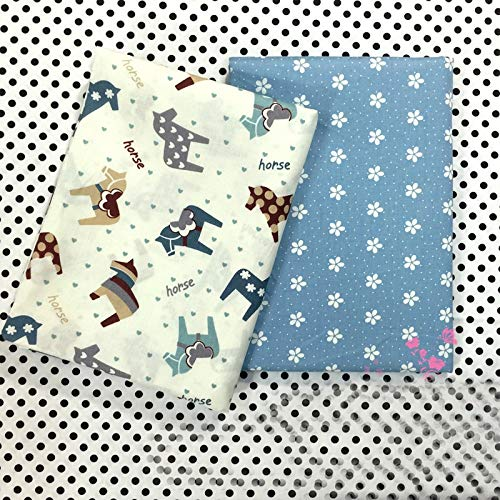 Fabric Horse Flower Printed Cotton Tissue for Home Textile Baby Quilts Cushions Sewing Cloth Material