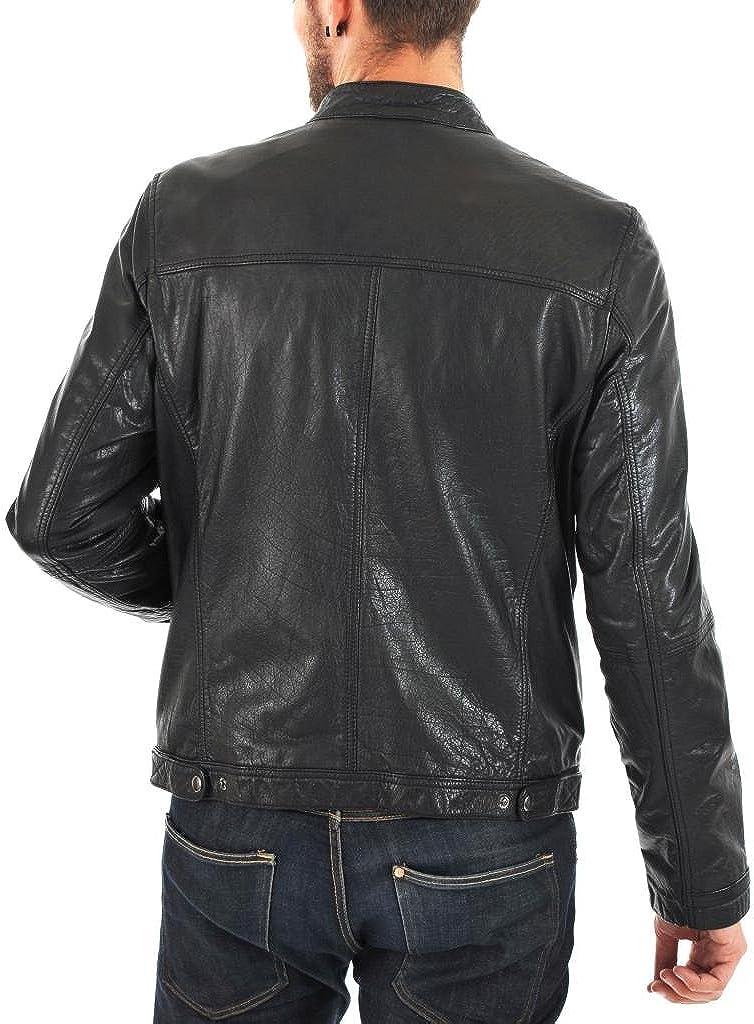Men Moto Cow Hide Motorcycle Real Leather Jacket C113