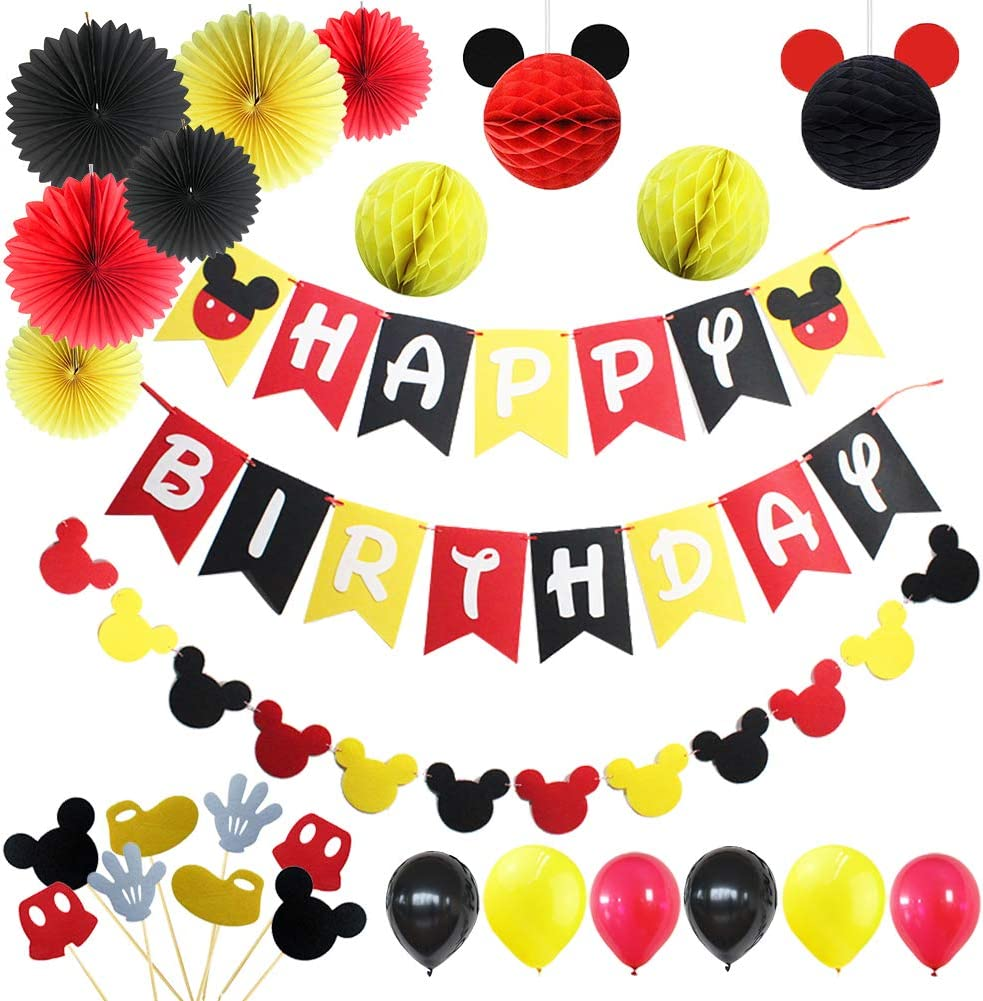 LOCCA Mickey Mouse Party Supplies, 1st 2nd 3rd Birthday Decorations for Boys/Girls/Kids, Red Yellow Black Mickey Mouse Theme Party Favors Kit, Includes Mickey Birthday Banner and Garland