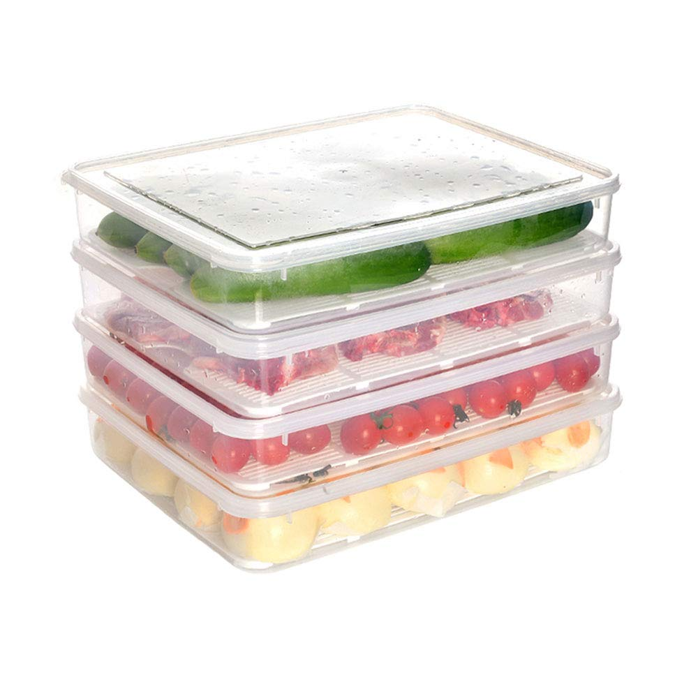 ZYZ 4 Pcs Refrigerator Storage Box, PP Material, The Humanized Design, The Bottom Groove is Not Easy to Slide, Bottom Drain Design