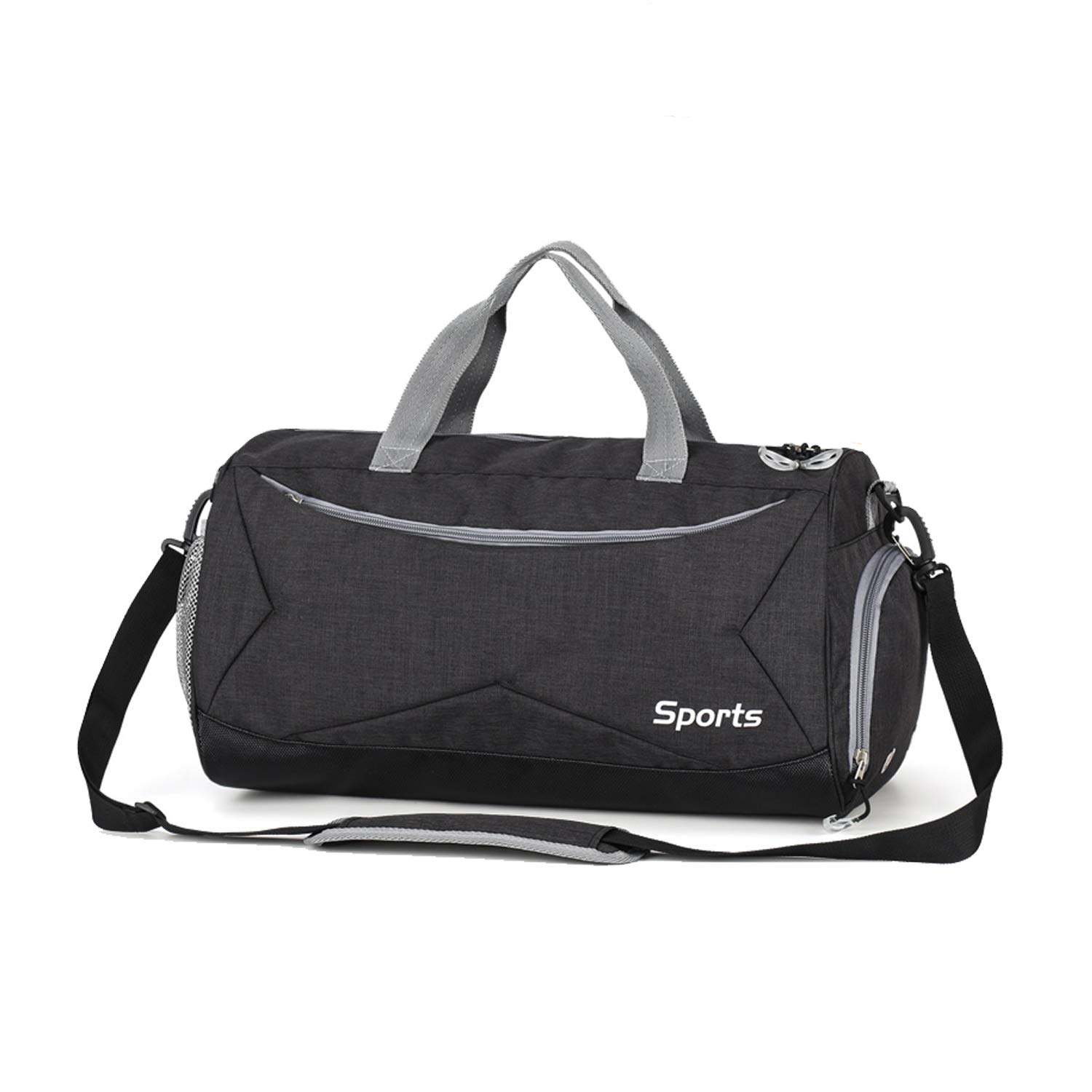 aeepd Sports Gym Bag Travel Luggage Duffel Bag with Wet Pocket Shoes Compartment for Men Women Black