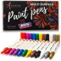 Paint pens for rock painting, stone, ceramic, glass. Extra fine point tip, Set of 12 water based paint markers. Water resistant