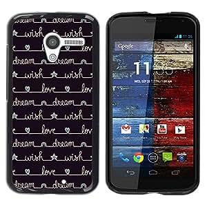 Cuaderno de escritura Diary Estrellas Negro - Metal de aluminio y de plástico duro Caja del teléfono - Negro - Motorola Moto X 1 1st GEN I