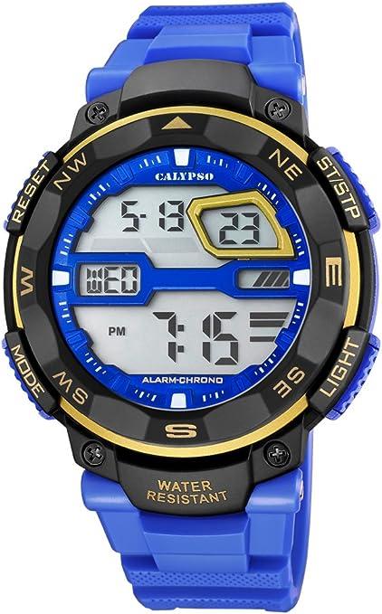 Calypso Hombre Reloj Digital con Pantalla LCD Pantalla Digital Dial Azul y Correa de plástico k5672/7