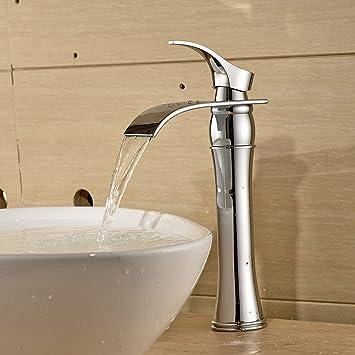 BONADE Hoher Auslauf Einhebel Waschtischarmaturen Wasserfall Wasserhahn  Armatur Bad Für Badezimmer Waschbecken, 59 Kupfer