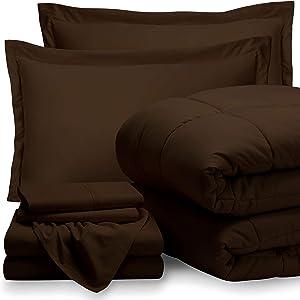 Bare Home Queen Sheet Set - 1800 Ultra-Soft Microfiber Bed Sheets (Queen, Cocoa) + Comforter Set - All Season (Queen, Cocoa)
