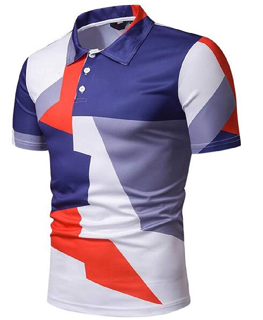 Joe Wenko Men Top Polos Shirt Slim Short Sleeve Tee Color Block T-Shirt