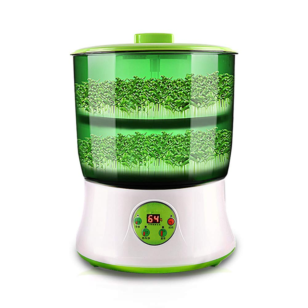 Automatic Bean Sprouts Machine 110V, Homeself 2 Layers Electronical Intelligent Household Large Capacity Auto Seed Grow Cereal Tool with LED Display Power-Off Memory Function (Green) by Homeself