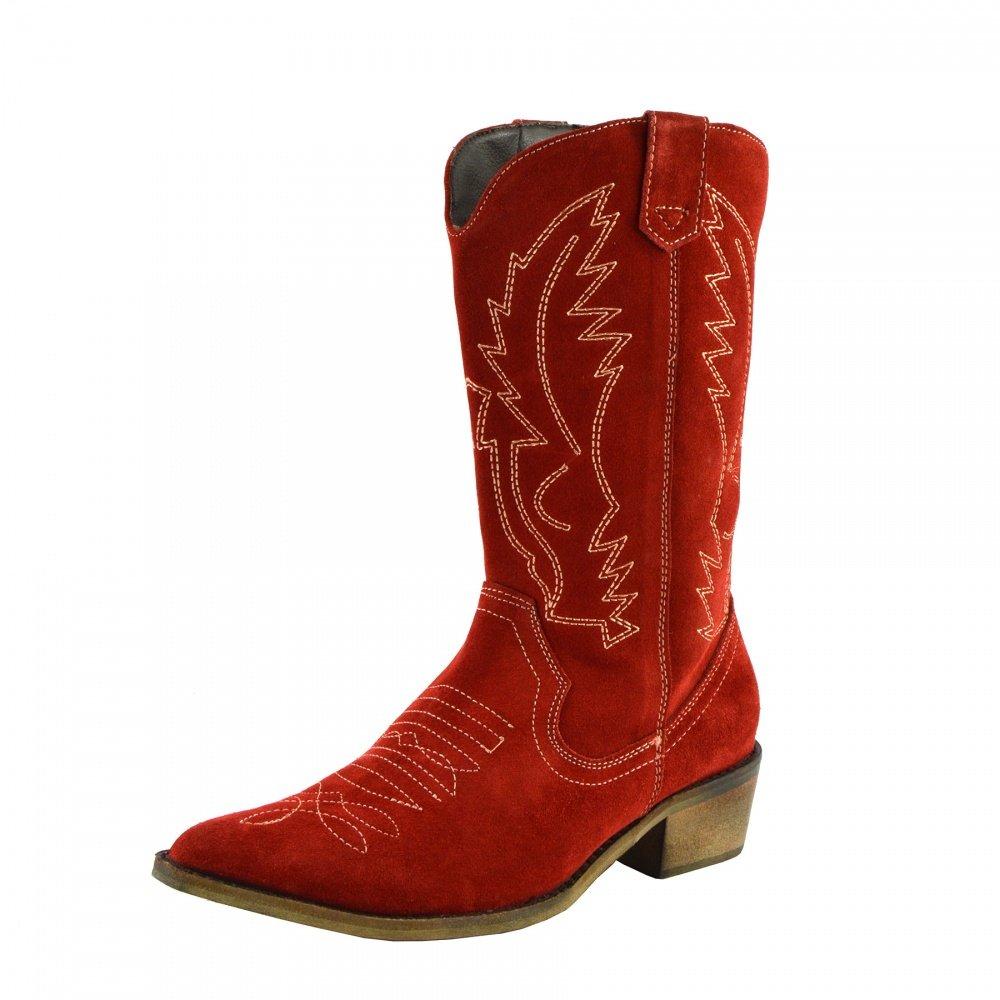 Femme de l B009VBU6CQ Ouest Large du Dames Cuir Bottes de cowboy à bout Pointu Dames Large Mollet Bottes Rouge 573741c - automatisms.space