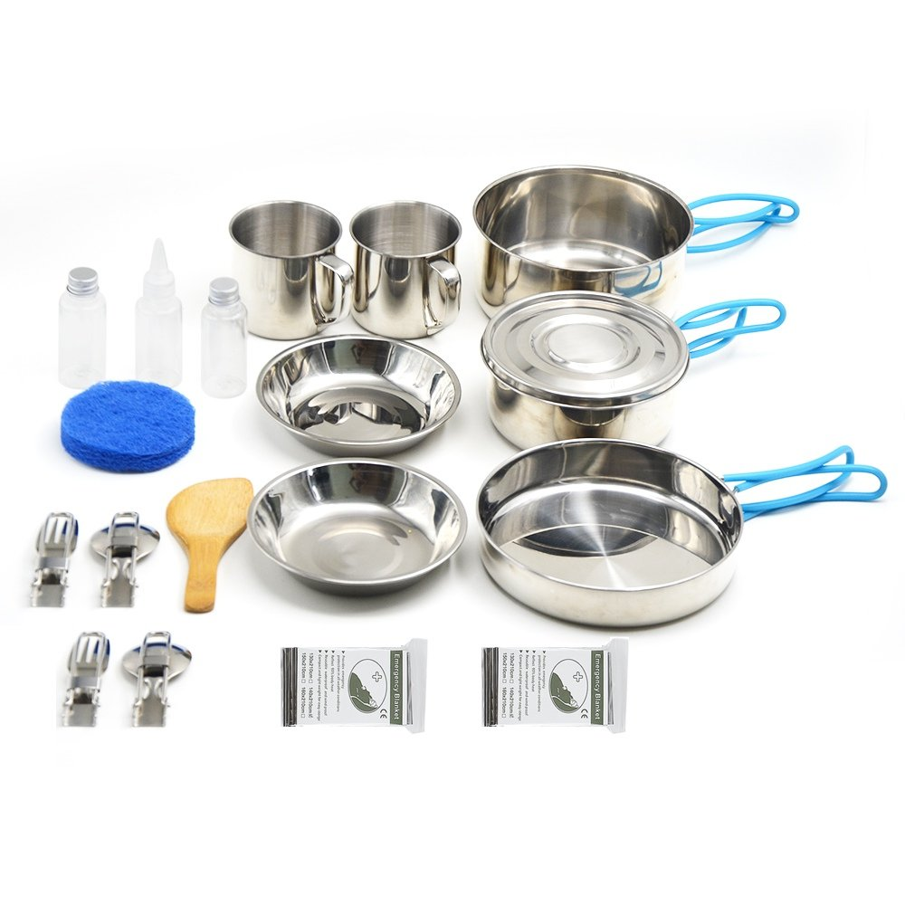 Lightweight Compact /& Durable Pot Pan Small Camping Cookware 11 Pieces gift+9 Pieces Stainless Steel Mess Kit Backpacking Gear /& Hiking Outdoors Bug Out Bag Cooking Equipment