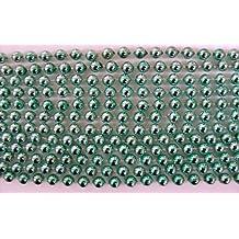 33 inch 7mm Round Metallic Lime Green Mardi Gras Beads - 6 Dozen (72 necklaces) by Mardi Gras Spot