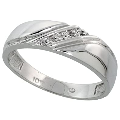 10k white gold mens diamond wedding band ring 003 cttw brilliant cut 14