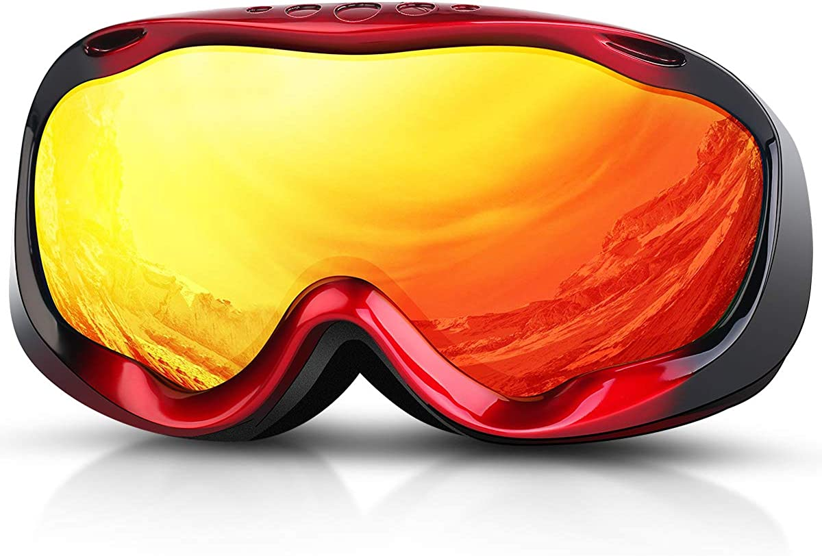 Mens Women Snowbord Goggles Over Glasses OTG Anti-Fog Skiing Goggles for Adults Youth Snow Deecreek Ski Goggles Helmet Compatible