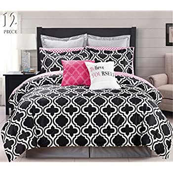 12 Piece Modern Bedding Black, White And Pink Chic KING Comforter Set   Bed  In