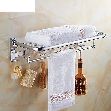 estante de toalla/Acero inoxidable doble doblado toallero/Estantes de baño/ cuarto de baño incorporado colgante-A: Amazon.es: Hogar