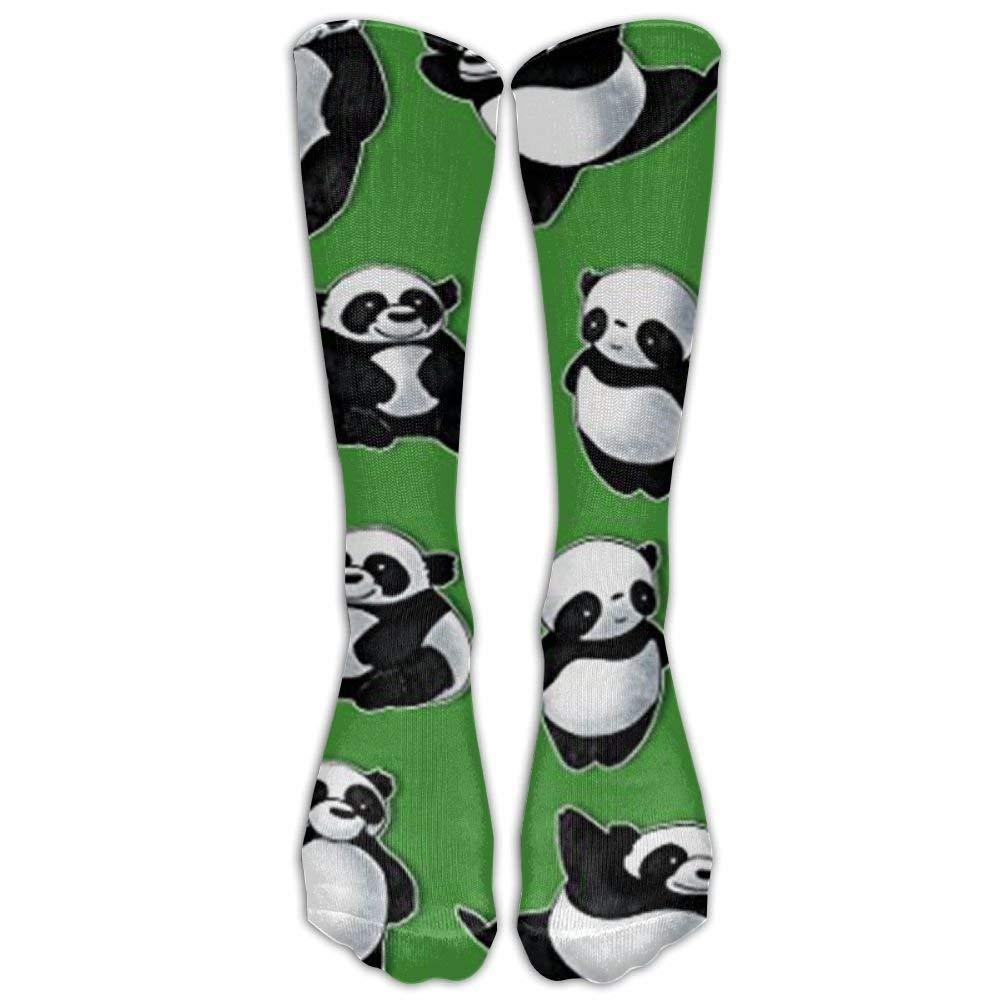 Mens Athletic Cushion Crew Sock Cute Panda Bear Head Red Long Sock Outdoor