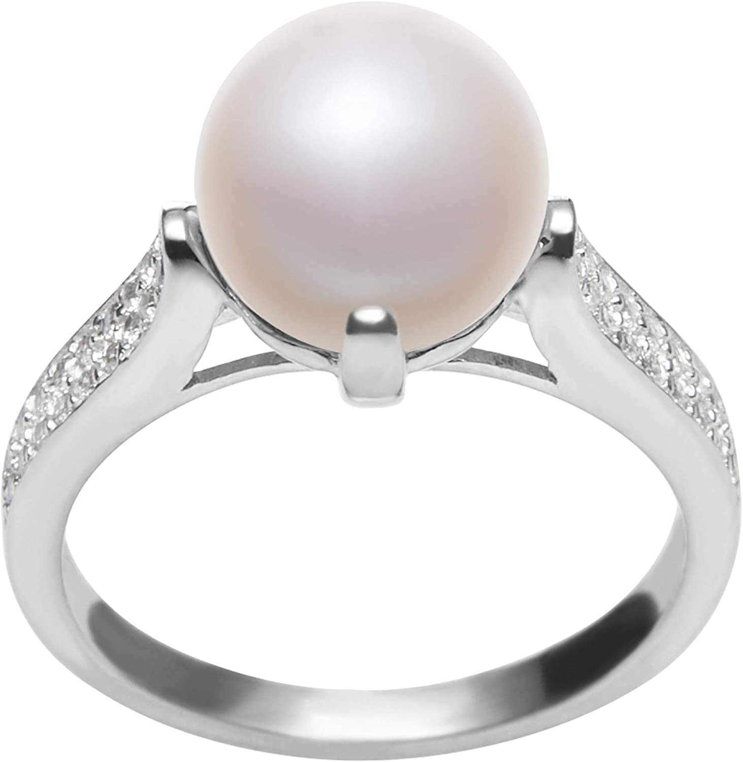 925 Sterling Silver Genuine Freshwater Pearl Ring  AAA Pearl Engagement Ring