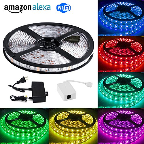 LVGOO Wifi Smart LED Light Strip,Wireless Smart Phone Controlled Strip Light,16.4ft 300leds 5050 Waterproof LED Lights,Works with Smart Life App,Alexa,for Party,Christmas Decoration,Home Lighting,Gift