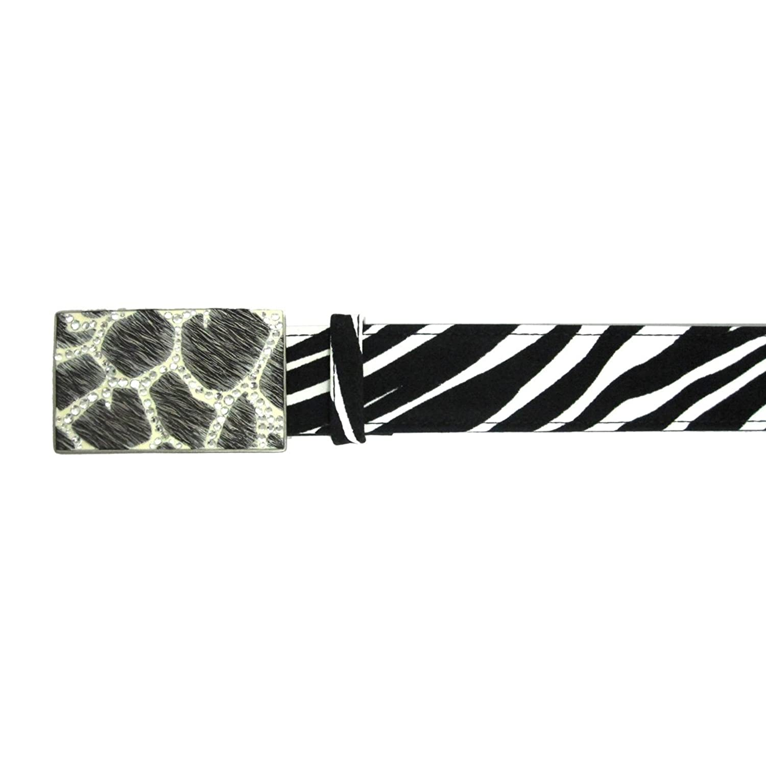 "1 1/2"" Women's Giraffe Print Buckle with Rhinestones on Quality Zebra Print Belt"