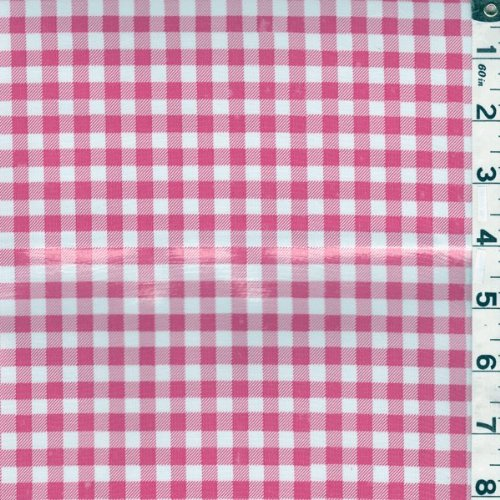 Pink Gingham Check Oilcloth, Fabric by The Yard