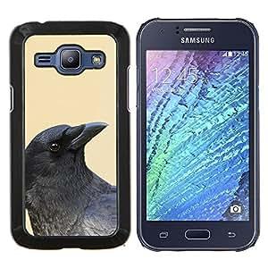 Cuervo Negro Amarillo Profundo minimalista Aves- Metal de aluminio y de plástico duro Caja del teléfono - Negro - Samsung Galaxy J1 / J100