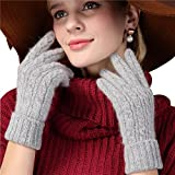 T-GOTING Women Touchscreen Winter Cold Weather Warm Knitted Mitten Wool Gloves (Grey)