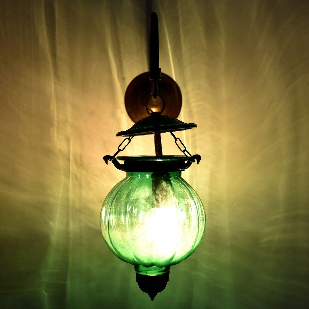 Handmade Vintage Melon Shaped Glass Green Wall Lamp Sconces Hanging Lighting Bronze Bracket
