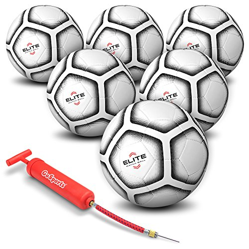 GoSports Elite Match Soccer Ball 6 Pack - Top Tier Ball with Bonus Air Pump & Mesh Bag (Size 5)