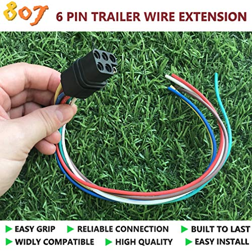 BBTree 807 Square 6-Way Trailer Wiring Harness Connectors,6 pin Square Trailer Wire Extension for LED Brake Tailgate Light Bars,Hitch Light Trailer Wiring Harness Extension -
