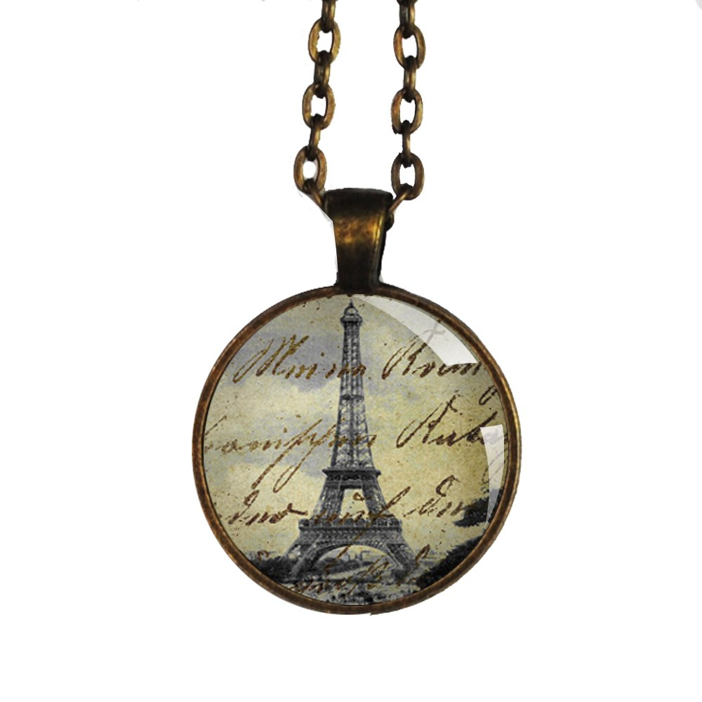 Eiffel Tower Antique Brass Pendant Necklace with Vintage Writing One Inch (25mm)