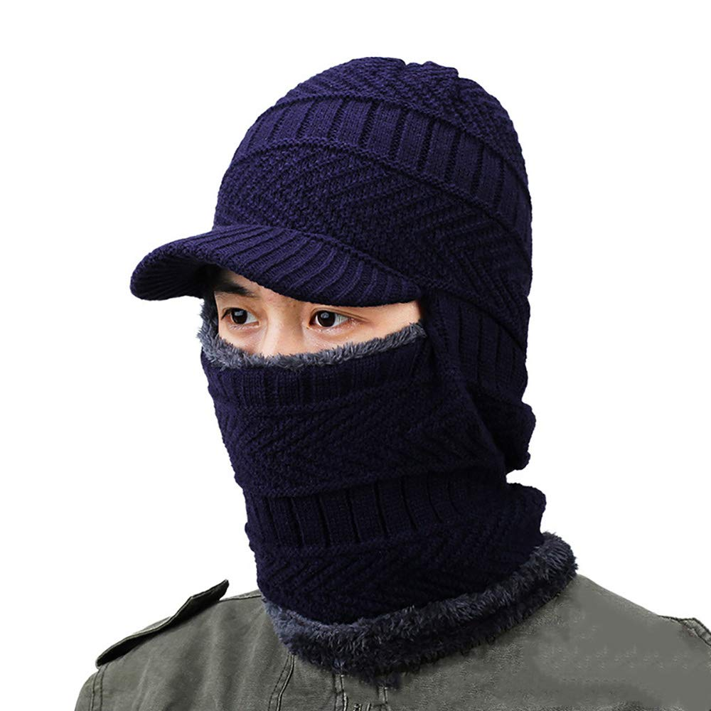94526c172e2666 bluee Winter Warm Beanie Hat,Winter Warm Ear Cap Cap Cap Warm Knit Hat  Thick Wool Knitted Face Predector Leisure and Scarf for Men,bluee 012d2c