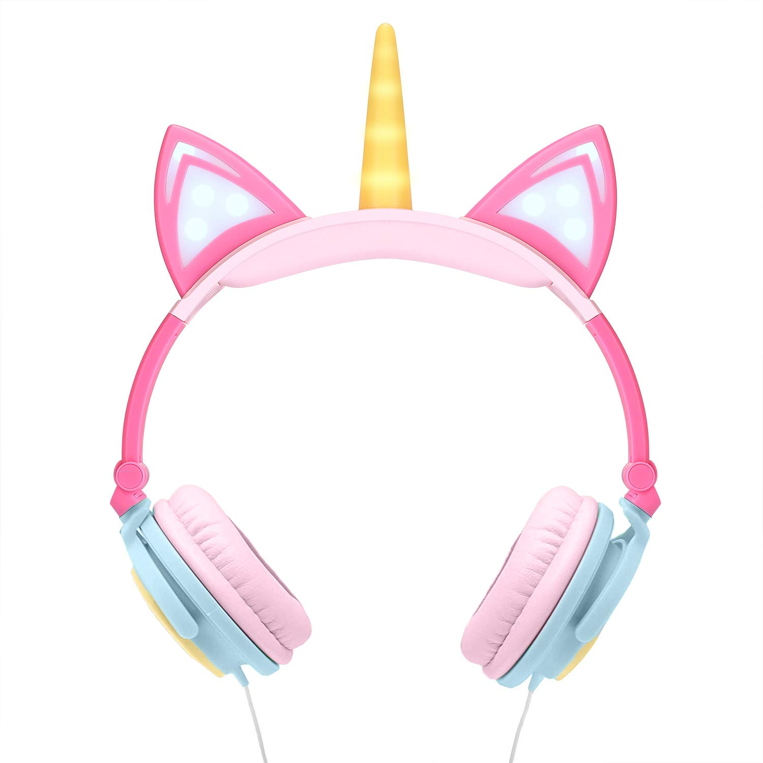 Auriculares Kids Children's Over-Ear Unicorn Cat Ear Flashing Lights Pink